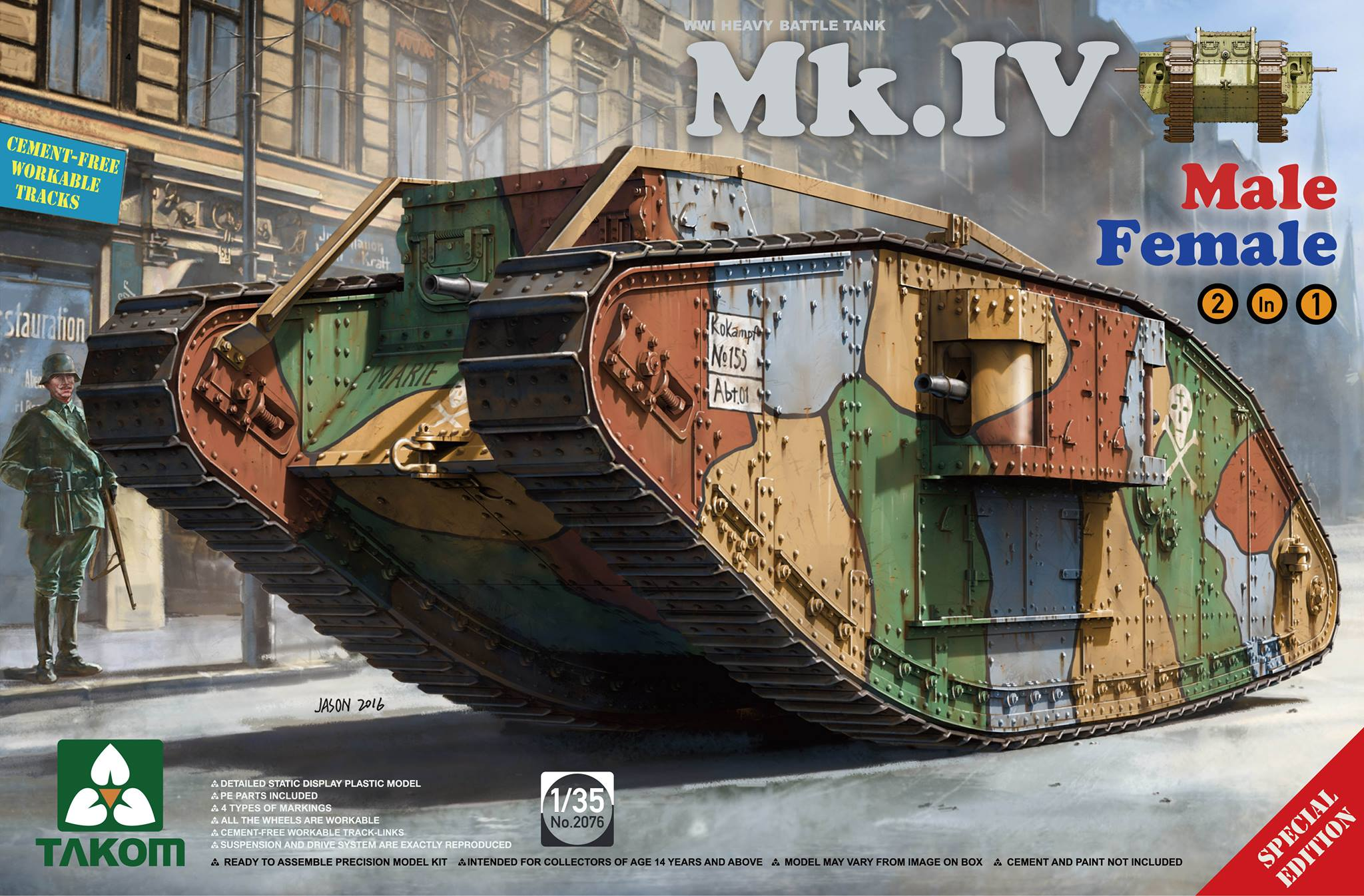 WWI  Tank Mk.IV (2 in 1) - Special edition (new decal and cement-free track)