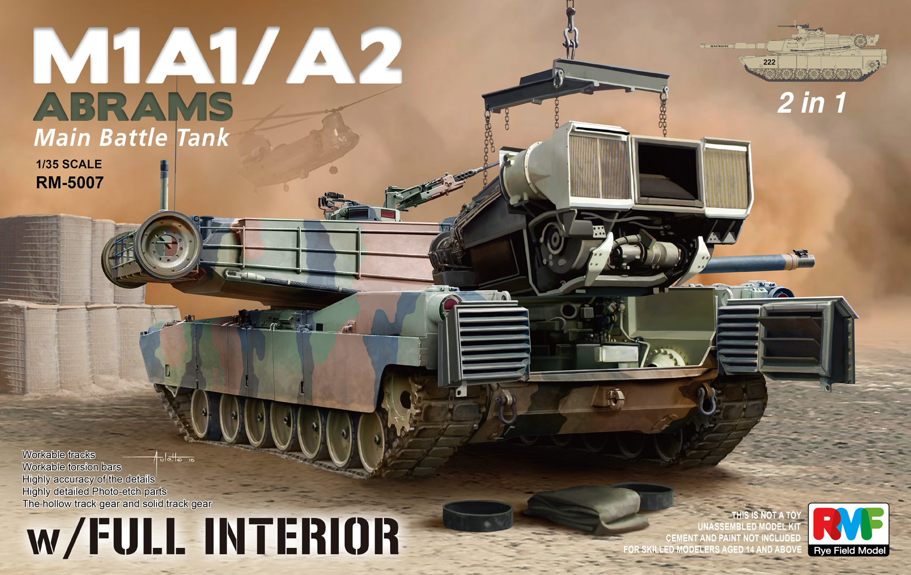 M1A1 / A2 Abrams w/Full Interior (2 in 1)