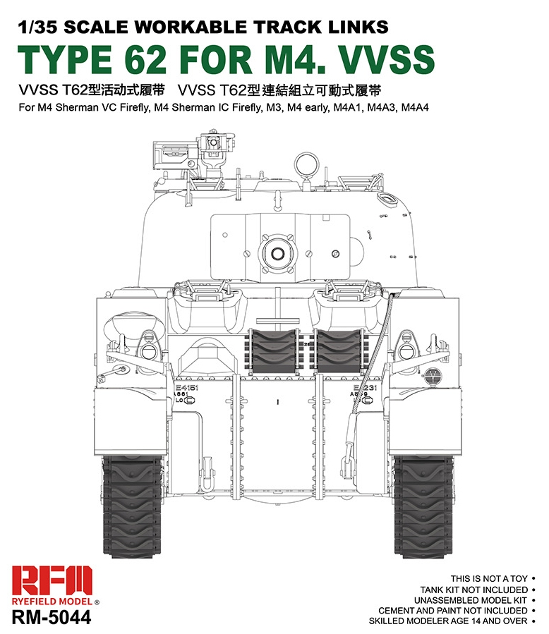 Workable Tracks Links VVSS Type 62 For M4 Sherman
