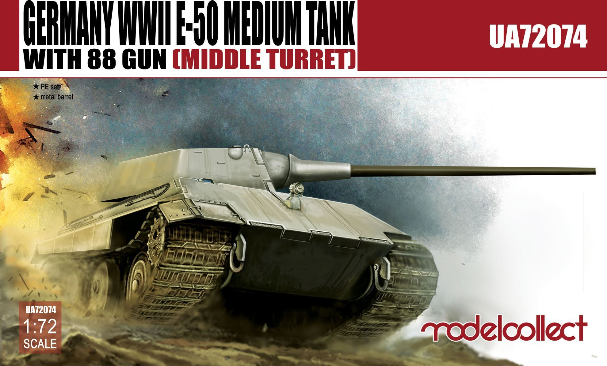 Germany WWII E-50 Medium Tank with 88 gun (middle turret)