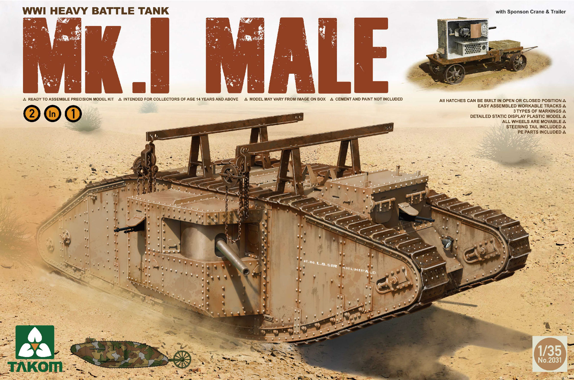 WWI Heavy Battle Tank Mk.I Male 2 in 1 (with crane and flat trailer)