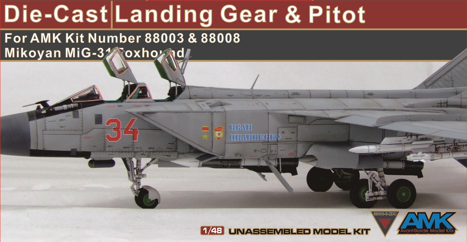 Metal Landing Gear and Pitot for MiG-31 Foxhound