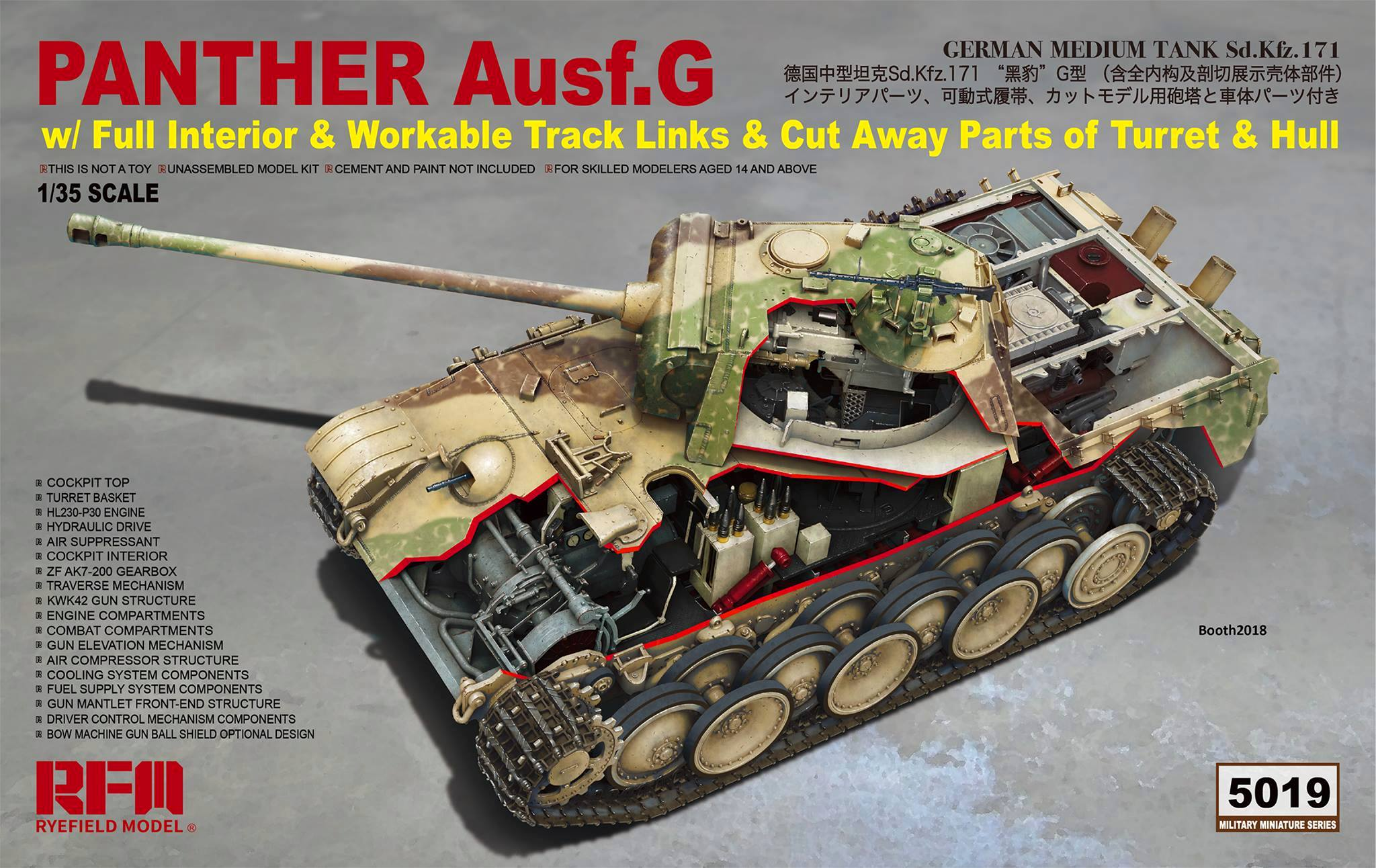 Panther Ausf.G w/Full Interior & Cut Away Parts