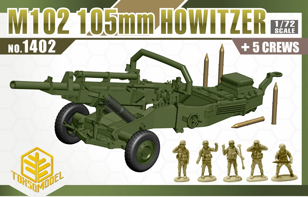 M102 105mm Howitzer and crews