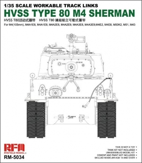 Workable Tracks Links HVSS T80 For M4 Sherman